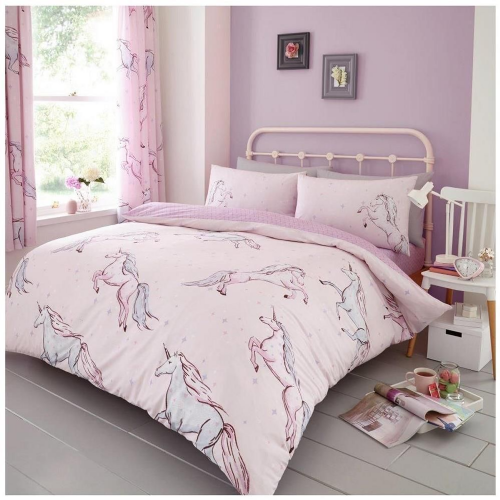"""Star Unicorn"", Pink, Double Duvet, Easy Care, by Gaveno Cavailia"